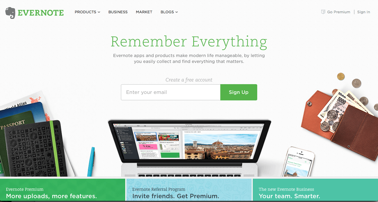 Evernote website screenshot