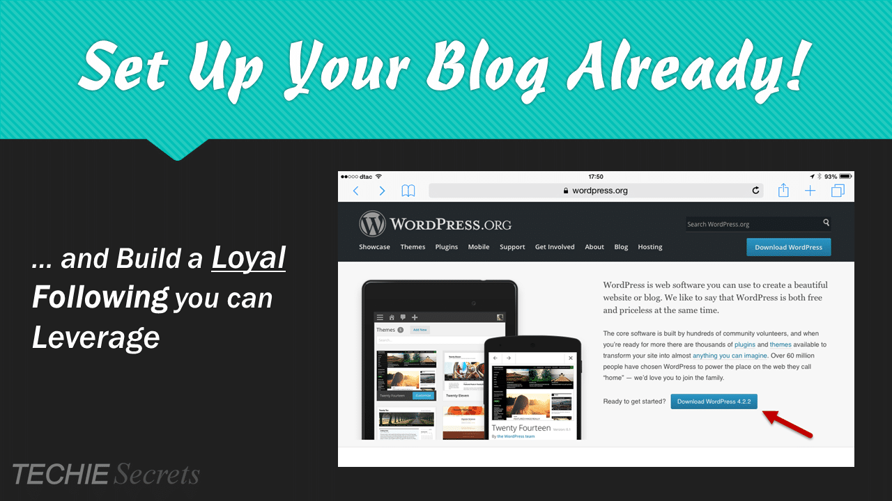 Graphic that reads: Set up your blog already