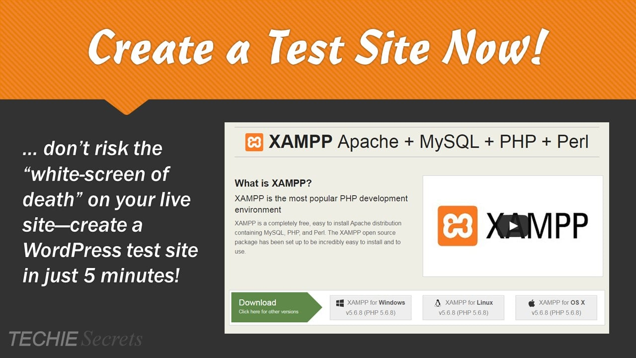 Create a WordPress test site banner